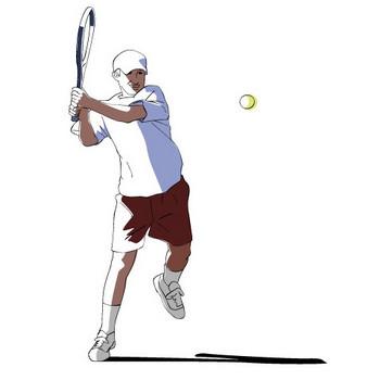バックハンドで打つテニスプレイヤー│無料クリップアート Drawing