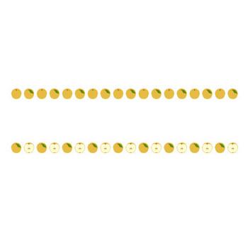 [無料イラスト素材]秋の味覚(松茸/栗/柿/梨/葡萄/さつま芋)のライン飾り罫線
