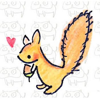 ドングリを持ったリスのイラスト | ゆるくてかわいい無料イラスト素材屋「ぴよたそ」