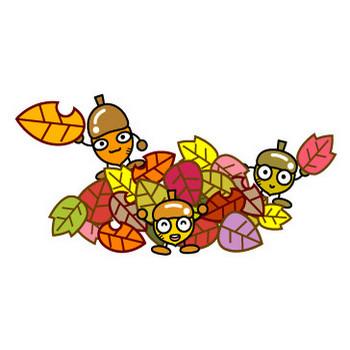 落ち葉で遊ぶどんぐりのイラスト|かわいいフリー素材、無料イラスト|素材のプチッチ