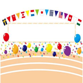 [無料イラスト] 万国旗と風船と紙吹雪と掲示板の運動会の背景 - パブリックドメインQ:著作権フリー画像素材集