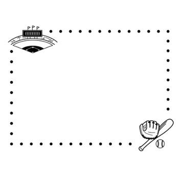 野球のフレーム・枠の白黒イラスト | かわいい無料の白黒イラスト モノぽっと