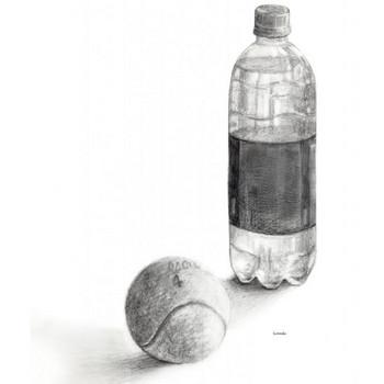 テニスボールとペットボトル | デッサン 鉛筆 運動 テニス | フリーイラスト素材 コムマール-sozai-
