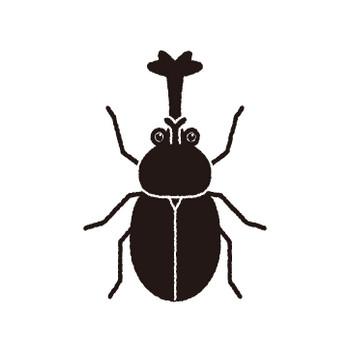 カブトムシの白黒フリー素材イラスト – KAGOのイラスト工房