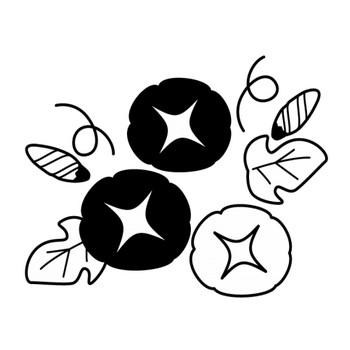 朝顔(あさがお)の白黒イラスト | かわいい無料の白黒イラスト モノぽっと