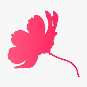 コスモス・秋桜のシルエット(00363)の無料イラスト