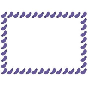 [野菜のイラスト]茄子(ナス・なすび)のフレーム飾り枠 | 無料フリーイラスト素材集【Frame illust】