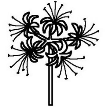 ヒガンバナ・彼岸花(白黒)/秋/花・植物の無料イラスト/ミニカット・クリップアート素材