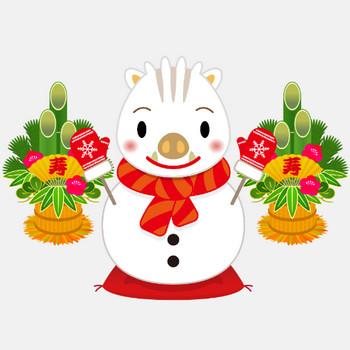 商用フリー・無料イラスト_干支_白いのしし(イノシシ・猪)雪だるま_門松 | 商用OK!フリー素材集「ナイスなイラスト」