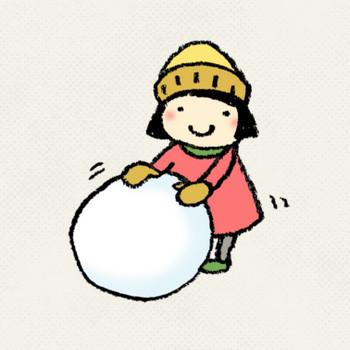 雪だるまを作る子どものイラスト | えんぴつと画用紙
