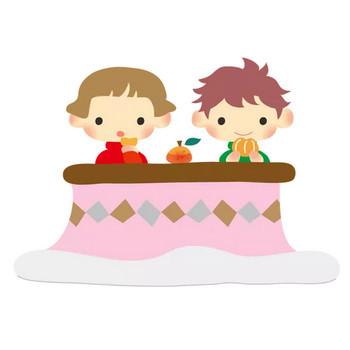 こたつでみかんを食べる家族のイラスト(フリー、無料)