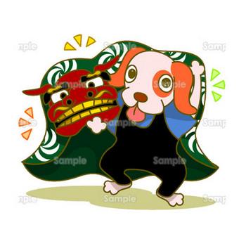 犬の獅子舞 | 無料イラスト | 年賀状プリント決定版 2019