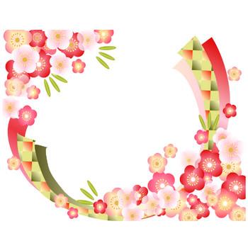 [フリーイラスト] 梅の花と竹の飾り枠 | 使いやすい無料のイラストやかわいいテンプレート 素材Bee