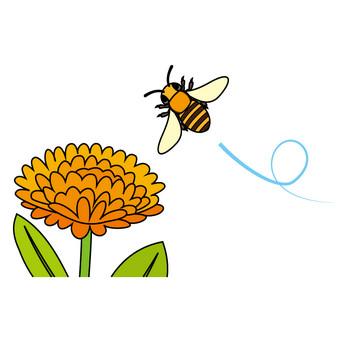 3月8日みつばちの日-花とミツバチのイラスト 無料ビジネスイラスト素材のビジソザ