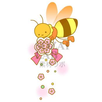 ミツバチとブーケのイラスト素材   無料イラスト素材 素材ラボ