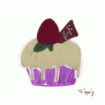 ガーリーな苺(イチゴ)のカップケーキのイラスト素材(フリー素材) | オンラインショップ素材,webデザイン,ホームページ制作 tigpig