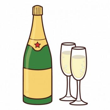 シャンパンがグラスに注がれているイラスト - 無料イラストのIMT 商用OK、加工OK