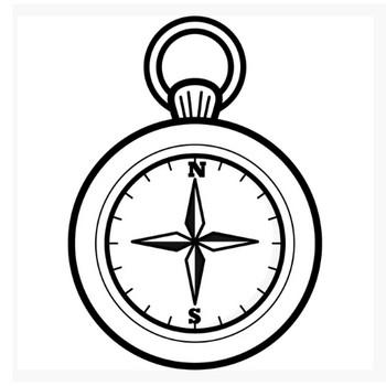 学校 方位磁石(コンパス)(モノクロ) – 無料で使えるイラスト素材・PowerPointテンプレート配布サイト【素材工場】