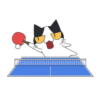 ボールを打つ卓球猫【無料イラスト・フリー素材】