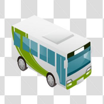 白と緑のバスのフリーイラスト素材
