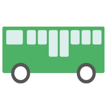 バス(緑)のシンプルイラスト <無料> | イラストK