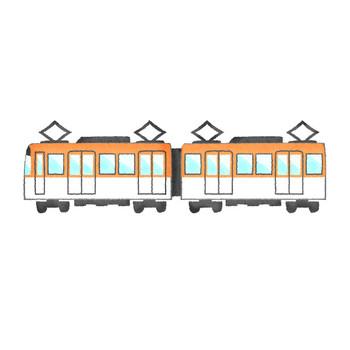 電車(オレンジ) | フリーイラスト素材 イラストラング