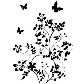 花のイラスト・フリー素材/白黒・モノクロNo.557『白黒・茎葉・蝶』