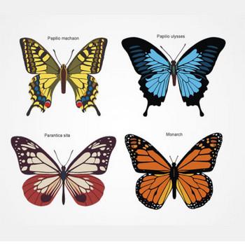 アゲハチョウなど4種類の蝶の無料ベクターイラスト素材 - All Free Clipart +