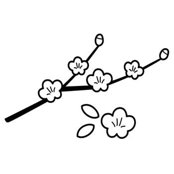 桃の花の白黒イラスト | かわいい無料の白黒イラスト モノぽっと