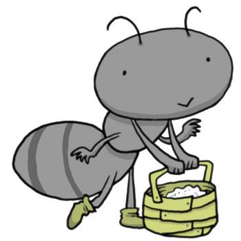 昆虫界の働き者?砂糖を運ぶアリ(蟻)今日もまじめに働きます!|かわいい無料イラスト素材(商用利用可)