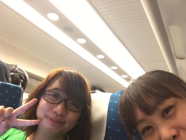 山口の原田組。帰りの新幹線にて