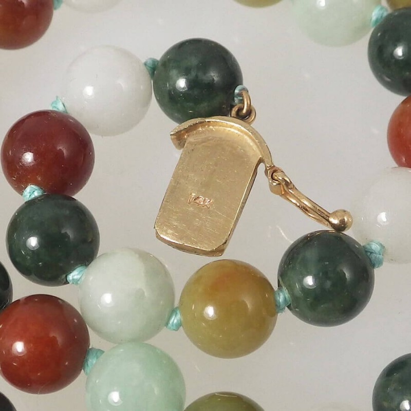 Multi Colored Jade Bead Necklace With 14k Jade Cabochon Clasp