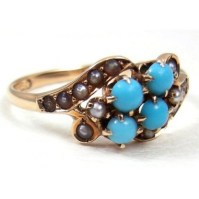 Persian Turquoise & Seed Pearl 10k Yellow Gold Antique ...