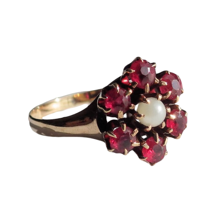 10k Gold Vintage Garnet Ring with Bohemian Garnets and Pearl