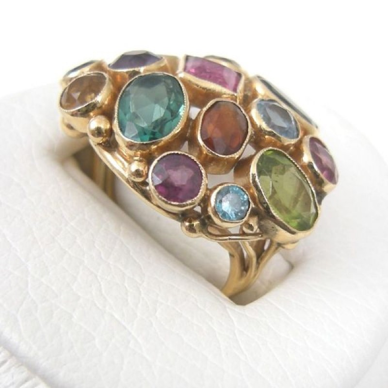 Colorful MultiGemstone 14k Gold DomeStyle Cocktail Ring