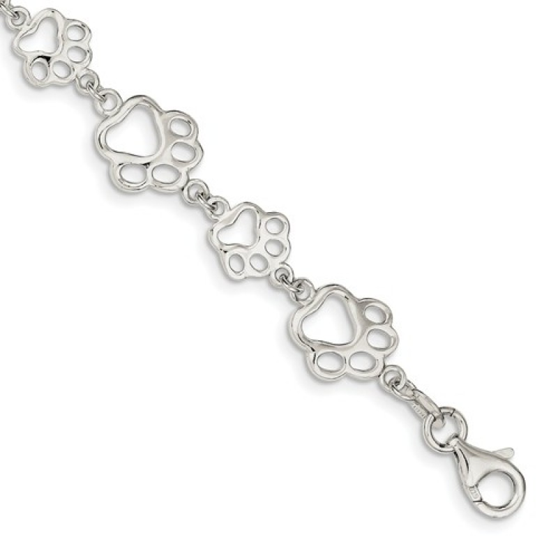 Cut Out Sterling Silver Animal Paw Print Bracelet