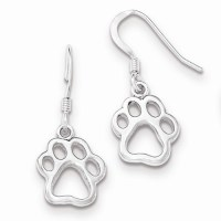 Cut Out Animal Paw Print Sterling Silver Dangle Earrings