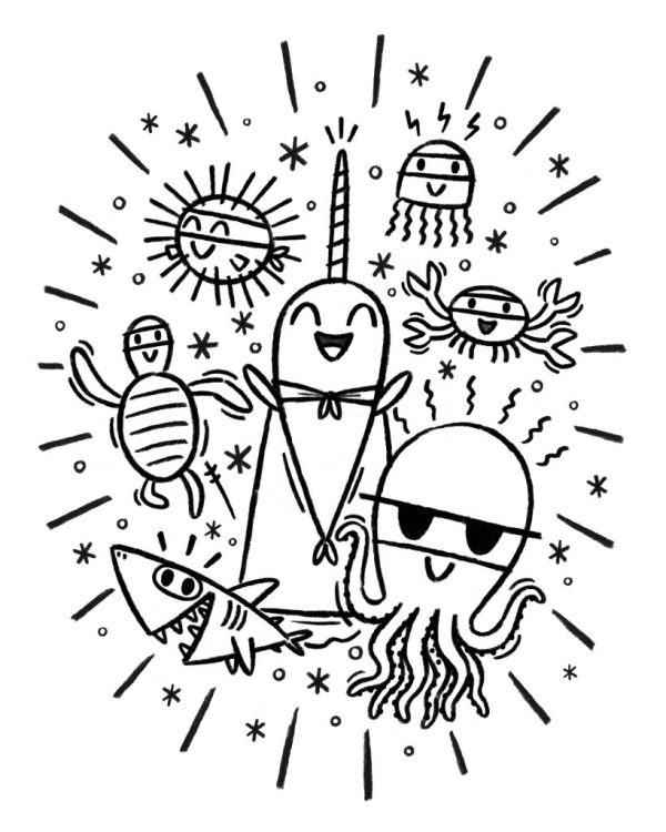 narwhal coloring page # 12