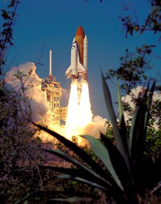 Endeavour lifts off from Launch Pad 39A
