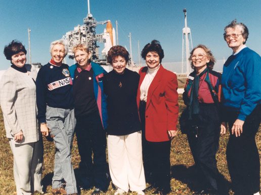 From left: Gene Nora Jessen, Wally Funk, Jerrie Cobb, Jerri Truhill, Sarah Rutley, Myrtle Cagle and Bernice Steadman