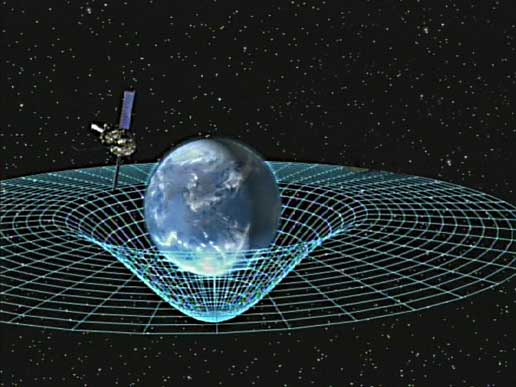 Artist concept of Gravity Probe B orbiting the Earth to measure space-time