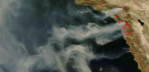 Image showing the wildfires burning in Southern California.