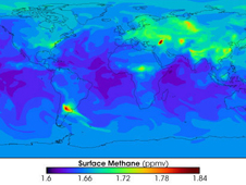 map of the world showing methane concentrations