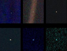 six narrow-angle color images were made from the first ever 'portrait' of the solar system taken by Voyager 1