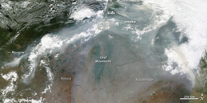 Incendios en Rusia (fuente: NASA)