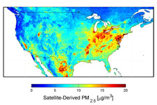 U.S. satellite-derived map of PM2.5 averaged over 2001-2006. <b>Credit:</b> Dalhousie University, Aaron van Donkelaar