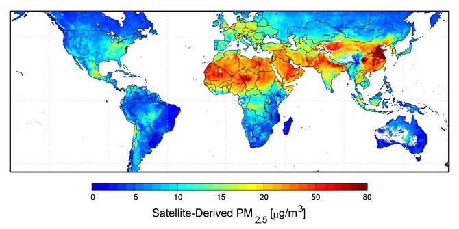 Global satellite-derived map of PM2.5 averaged over 2001-2006.  <b>Credit:</b> Dalhousie University, Aaron van Donkelaar