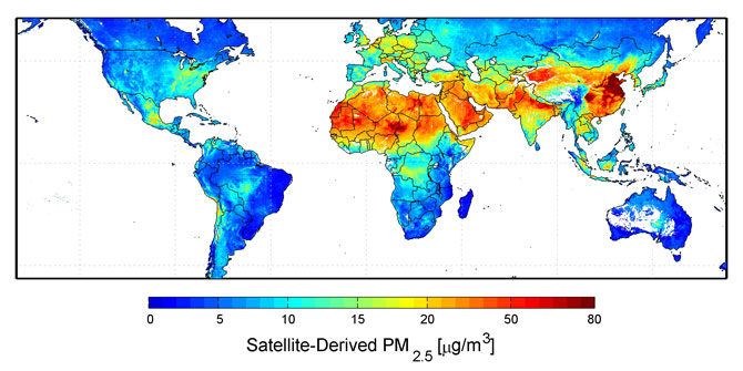 Global satellite-derived map of PM2.5 averaged over 2001-2006.  <b>Credit:</b> Dalhousie University, Aaron van Donkelaar