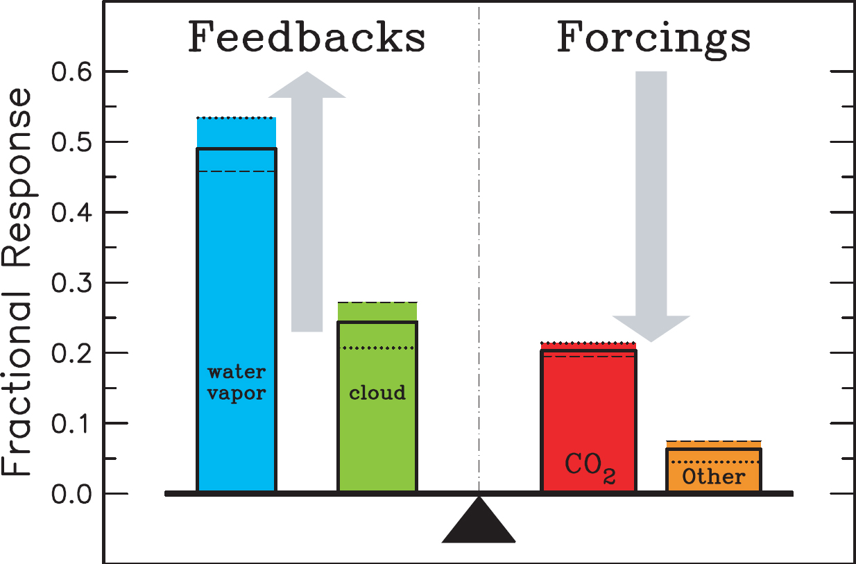 hight resolution of various atmospheric components differ in their contributions to the greenhouse effect some through feedbacks and
