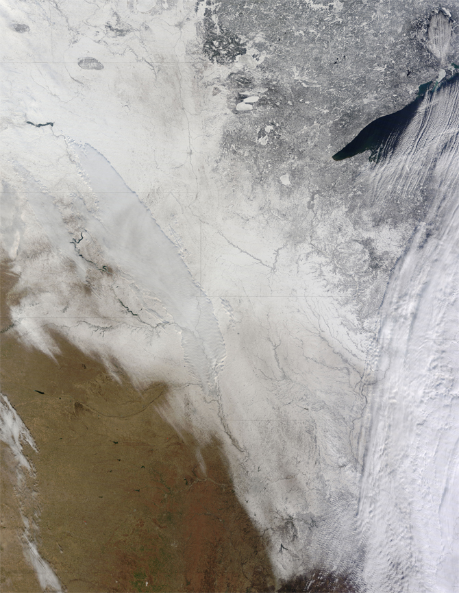 image of snow-covered Midwest based on satellite data